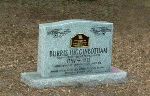 Burris Higginbotham Grave 1759-1812