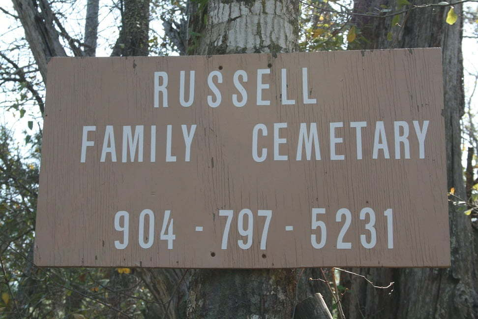 Russell Family Cemetery sign