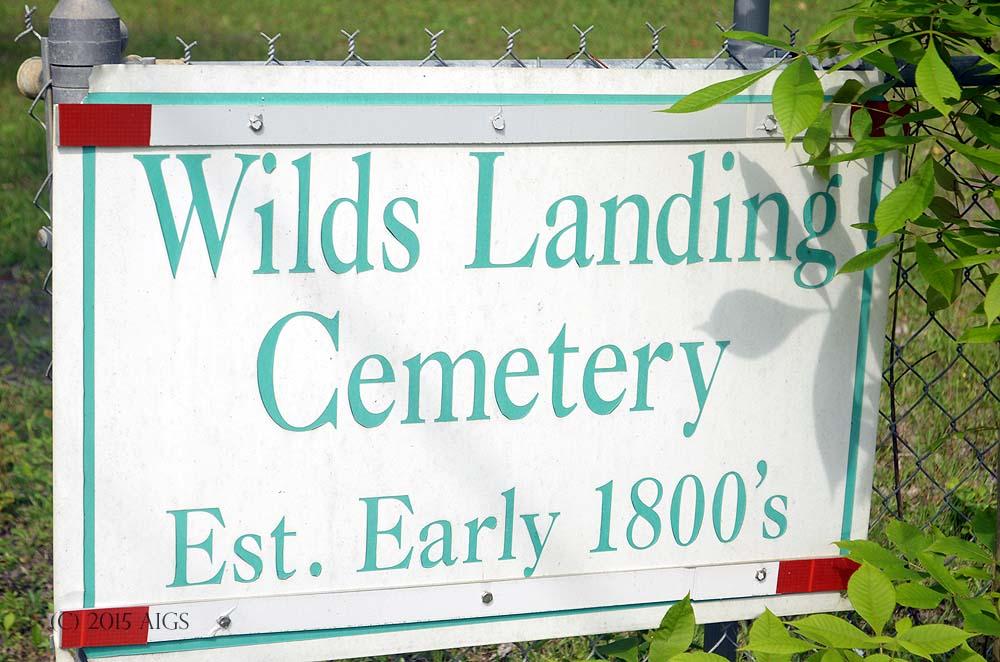 Wilds Landing Cemetery Sign