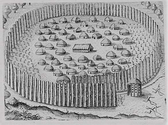 Timucuan Village by Theodore de Bry